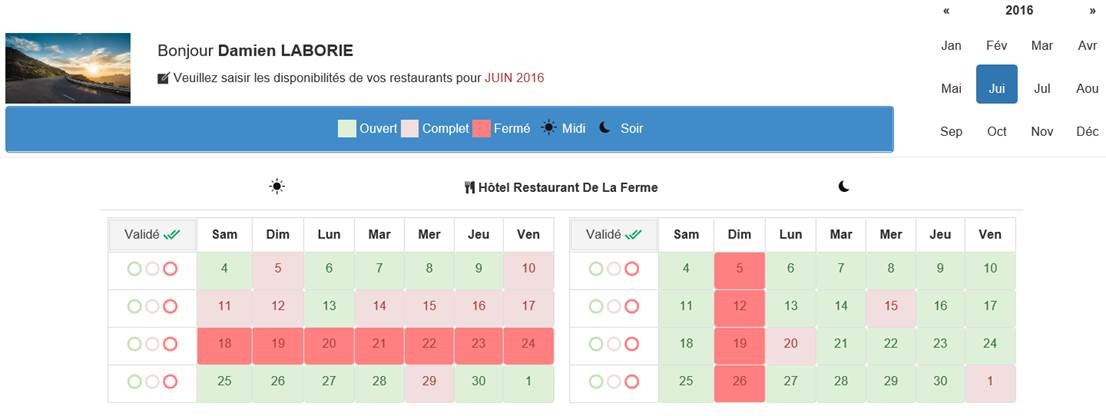 disponibilités de restaurants